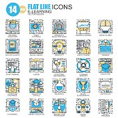 Thin line online education, e-learning icons set