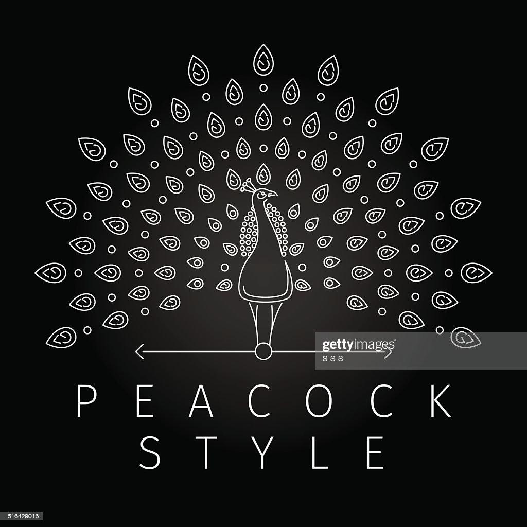 Thin line peacock logo