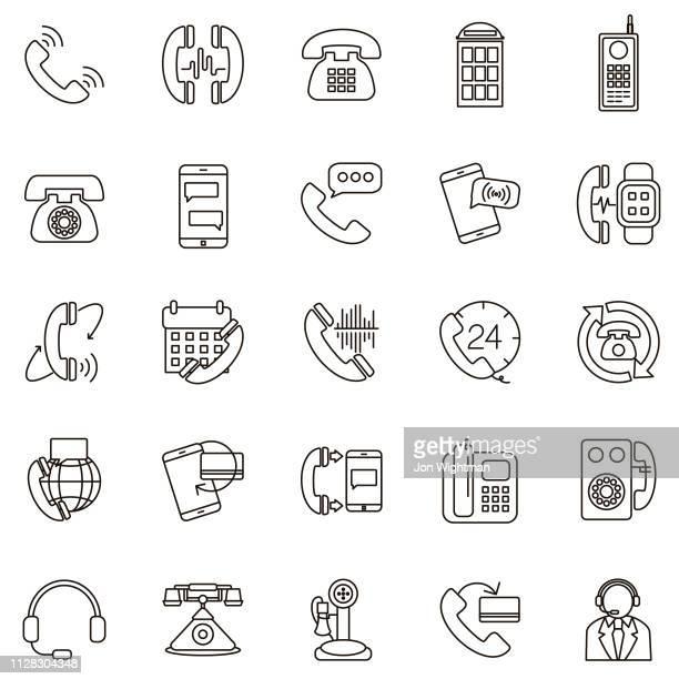 thin line phone icon set - candlestick phone stock illustrations