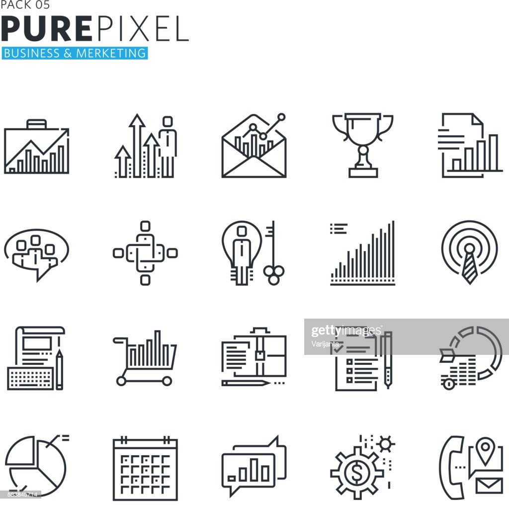 Thin line pixel perfect icons of business and marketing