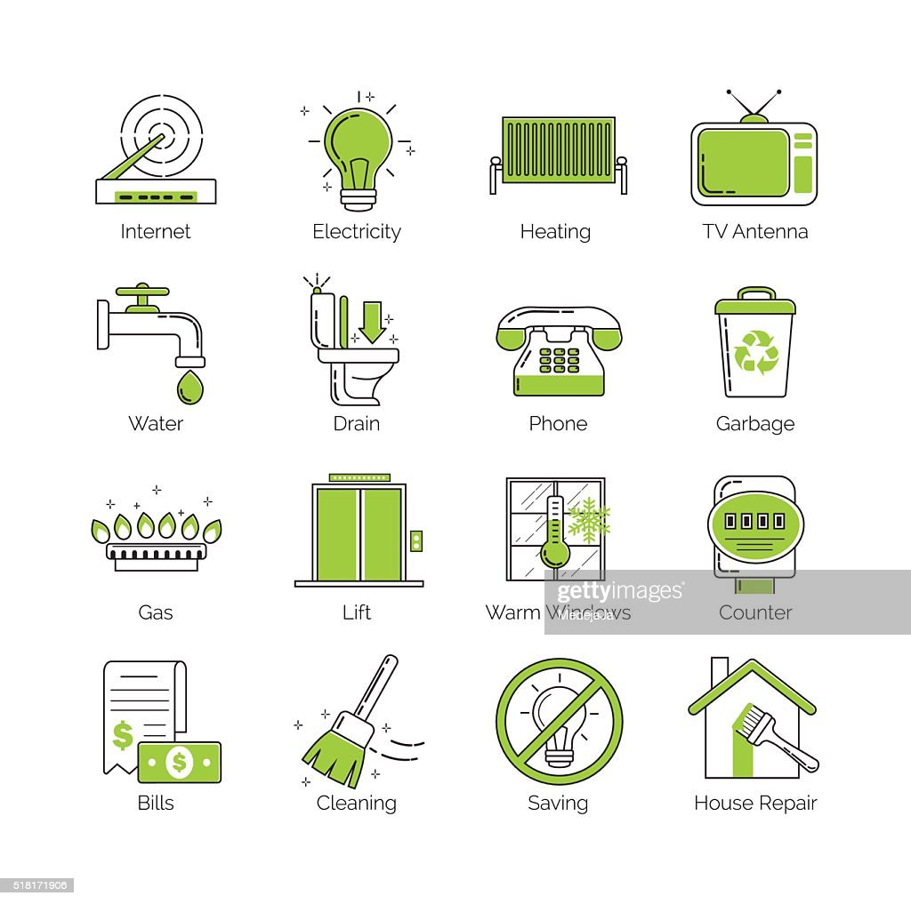 Thin line public utility, housing facilities, communal services vector icons