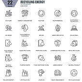 Thin line recycling, environmental protection, eco care icons