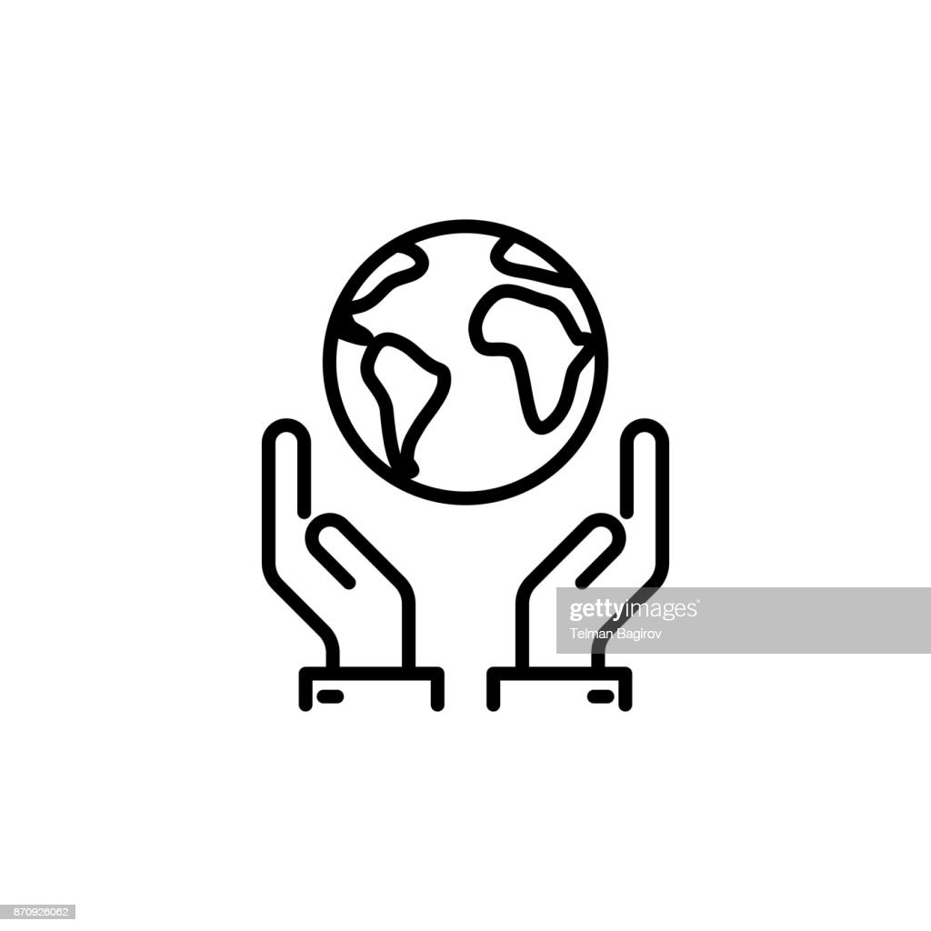 thin line save world, earth in hands icon