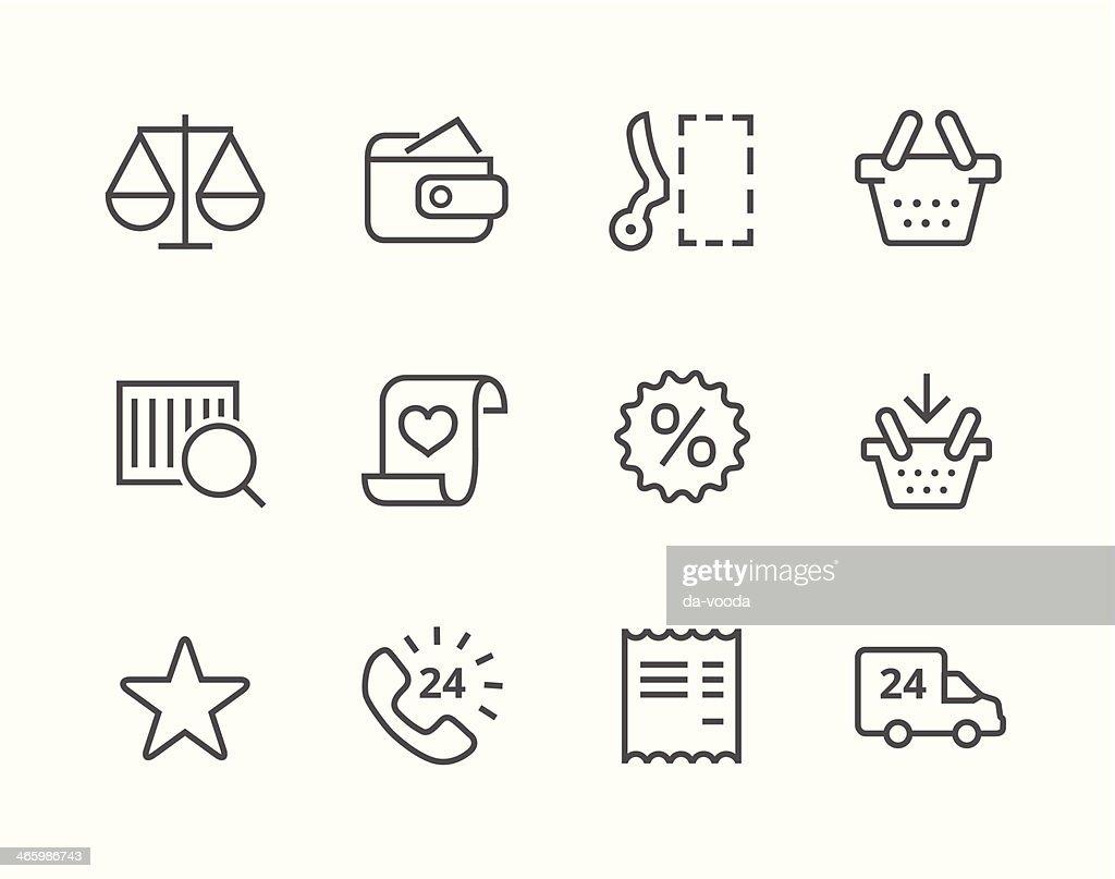 Thin line Shopping icons set.