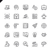 Thin line startup project and development elements icons set