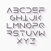 Thin line style font