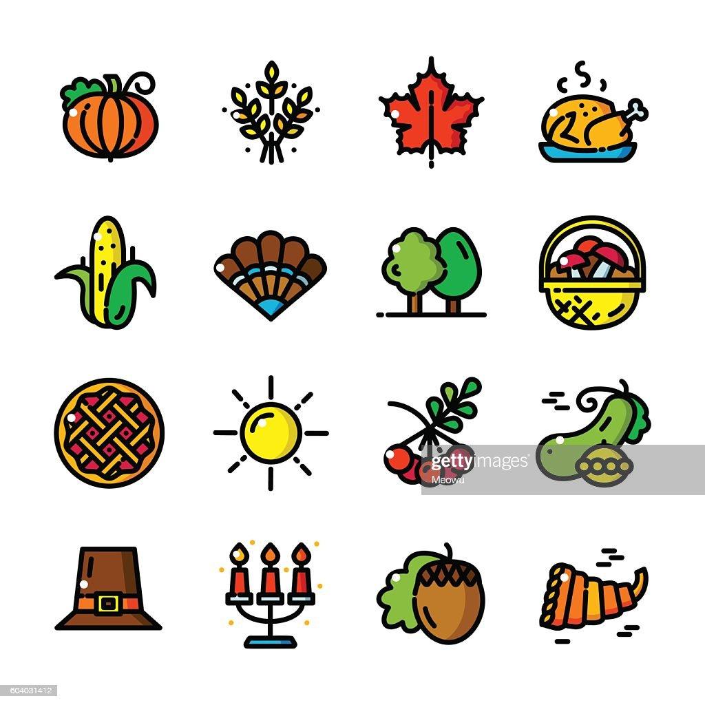 Thin line Thanksgiving icons vector illustration