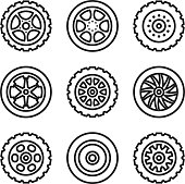 Thin line tires, wheels icons set. Car tyres. Vector icons