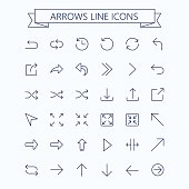 Thin line vector arrows icon set. Editable stroke. 24x24 px. Pixel Perfect.