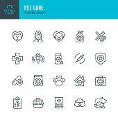 PET CARE - thin line vector icon set. Editable stroke. Pixel Perfect. Set contains such icons as Pets, Dog, Cat, Doctor, Veterinarian, Grooming, Pet Food.