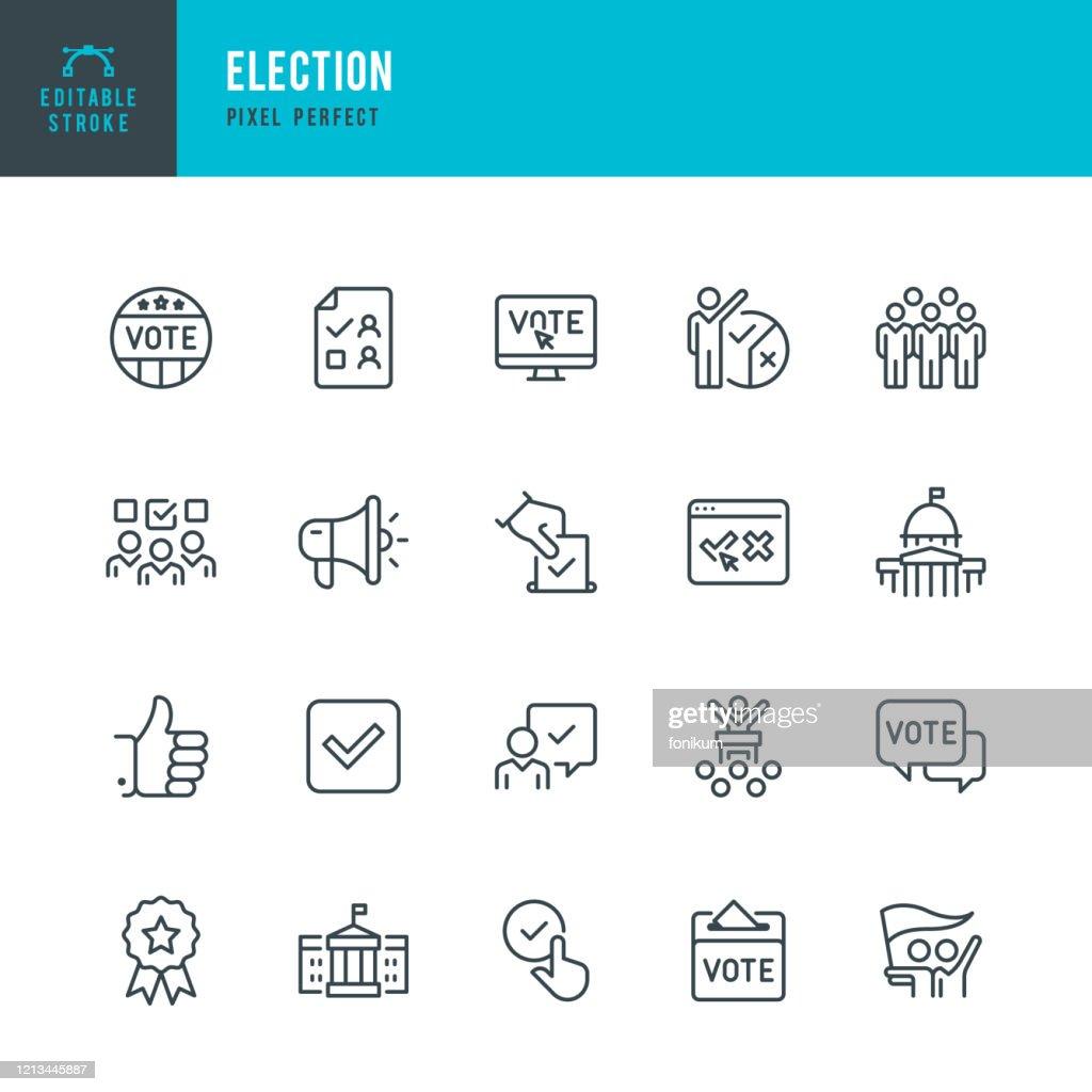 ELECTION - thin line vector icon set. Editable stroke. Pixel perfect. The set contains icons: Election, Politics, Voting, Capitol Building, White House, Presidential Election. : Ilustração de stock