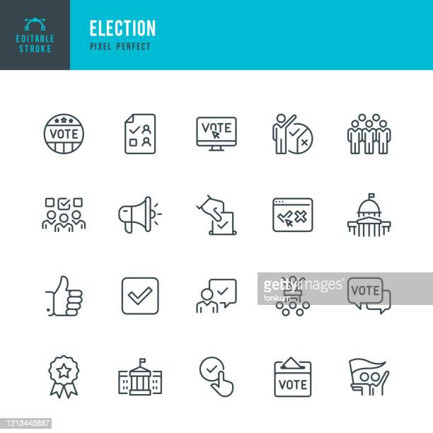 election - thin line vector icon set. editable stroke. pixel perfect. the set contains icons: election, politics, voting, capitol building, white house, presidential election. - election voting stock illustrations