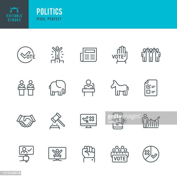 stockillustraties, clipart, cartoons en iconen met politiek - dunne lijn vector icoon set. bewerkbare slag. pixel perfect. de set bevat iconen: verkiezing, politiek, stemmen, debat, donkey; olifant. - wet