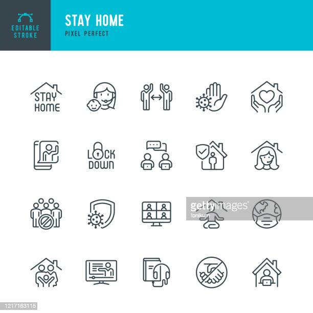ilustraciones, imágenes clip art, dibujos animados e iconos de stock de stay home - conjunto de iconos vectoriales de línea delgada. píxel perfecto. trazo editable. el conjunto contiene iconos: stay at home, social distancing, quarantine, video conference, working at home, e-learning. - corona