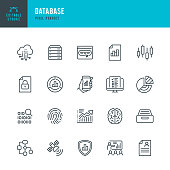 DATABASE - thin line vector icon set. Pixel perfect. Editable stroke. The set contains icons: Big Data, Biometric Data, Analyzing, Diagram, Personal Data, Cloud Computing, Archive, Stock Market Data, Brain.