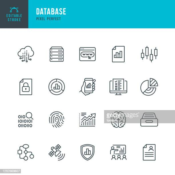 database - thin line vector icon set. pixel perfect. editable stroke. the set contains icons: big data, biometric data, analyzing, diagram, personal data, cloud computing, archive, stock market data, brain. - vintage stock stock illustrations