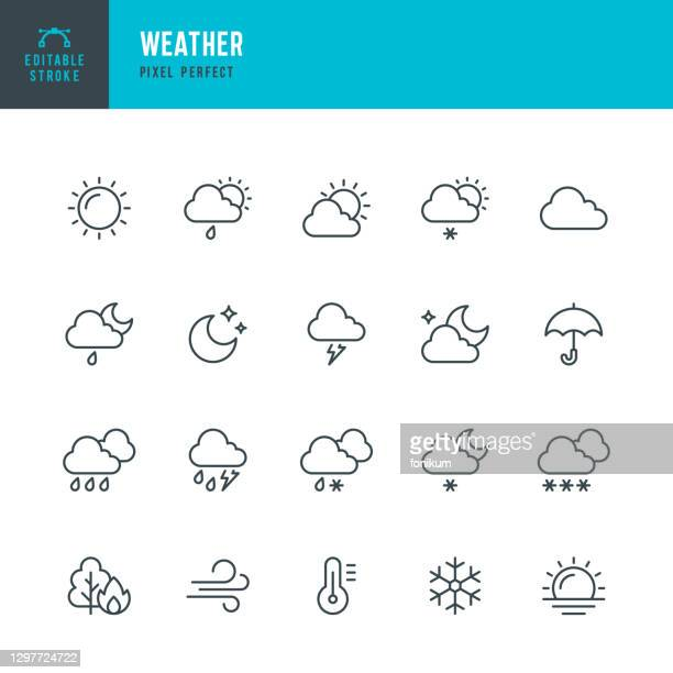 ilustraciones, imágenes clip art, dibujos animados e iconos de stock de weather - conjunto de iconos vectoriales de línea delgada. pixel perfecto. trazo editable. el conjunto contiene iconos: sol, luna, nube, invierno, verano, lluvia, nieve, ventisca, paraguas, copo de nieve, amanecer, viento. - tiempo atmosférico