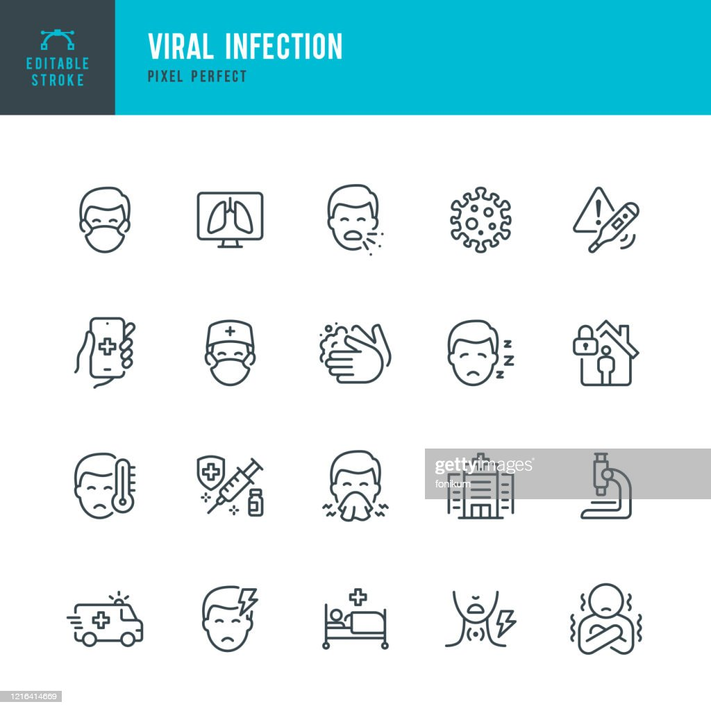 VIRAL INFECTION - thin line vector icon set. Pixel perfect. Editable stroke. The set contains icons: Coronavirus, Sneezing, Coughing, Doctor, Fever, Quarantine, Cold And Flu, Face Mask, Vaccination. : Stock Illustration