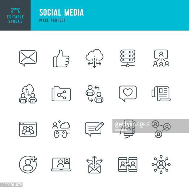 social media - thin line vector icon set. pixel perfect. editable stroke. the set contains icons: speech bubble, communication, friends, blogging, community, cloud computing, newspaper. - following stock illustrations