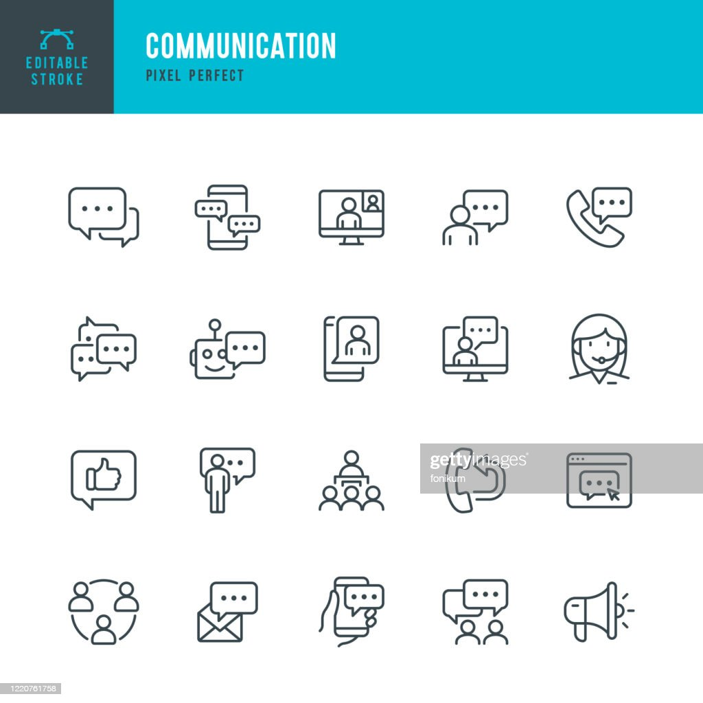 COMMUNICATION - thin line vector icon set. Pixel perfect. Editable stroke. The set contains icons: Speech Bubble, Communication, Application Form, Contact Us, Blogging, Community. : Stock Illustration