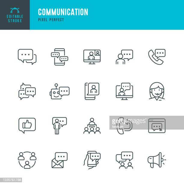 communication - thin line vector icon set. pixel perfect. editable stroke. the set contains icons: speech bubble, communication, application form, contact us, blogging, community. - talking stock illustrations