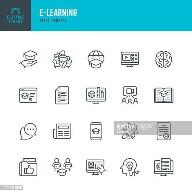 illustrazioni stock, clip art, cartoni animati e icone di tendenza di e - learning - set di icone vettoriali a linea sottile. pixel perfetto. tratto modificabile. il set contiene icone: e-learning, educational exam, rocket, brain, book. - missile razzo spaziale