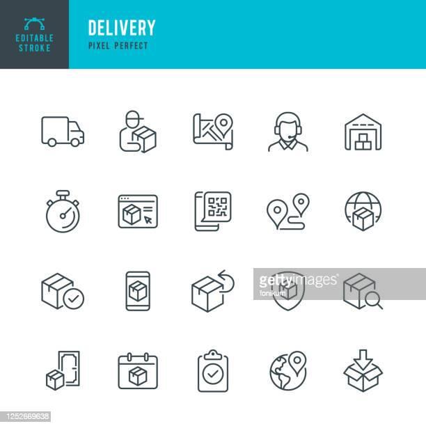 delivery - dünnlinien-vektor-symbol-set. pixel perfekt. bearbeitbarer strich. das set enthält symbole: lieferung, zustellperson, lieferwagen, paket, produktrücksendung, lager, support. - schiffsfracht stock-grafiken, -clipart, -cartoons und -symbole