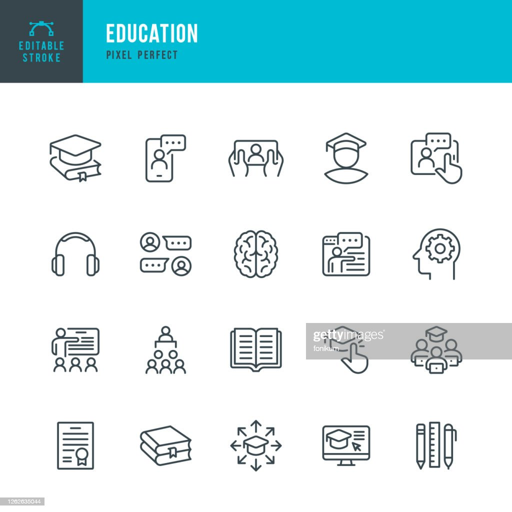 EDUCATION - thin line vector icon set. Pixel perfect. Editable stroke. The set contains icons: E-Learning, Education, Home Schooling, Classroom, Diploma, Social Distancing, Web Conference. : Stock Illustration