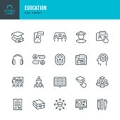 EDUCATION - thin line vector icon set. Pixel perfect. Editable stroke. The set contains icons: E-Learning, Education, Home Schooling, Classroom, Diploma, Social Distancing, Web Conference.
