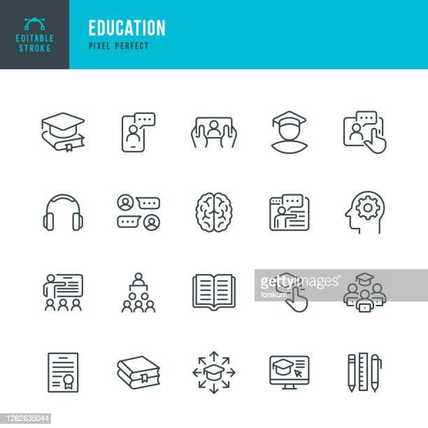 illustrazioni stock, clip art, cartoni animati e icone di tendenza di education - set di icone vettoriali a linea sottile. pixel perfetto. tratto modificabile. il set contiene icone: e-learning, education, home schooling, classroom, diploma, social distancing, web conference. - studiare
