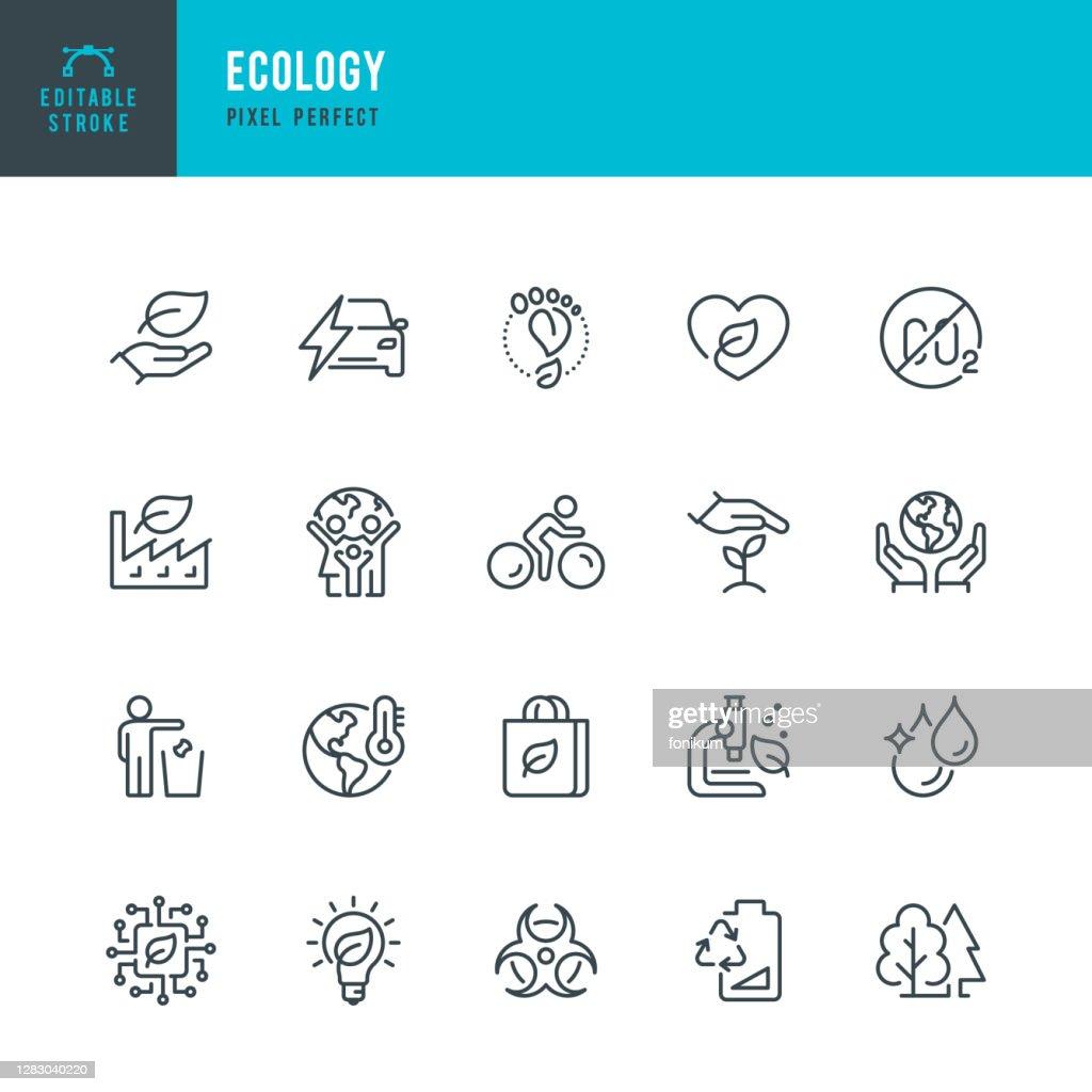 EKOLOGI - tunn linje vektor ikonuppsättning. Pixel perfekt. Redigerbar linje. Setet innehåller ikoner: Ekologi, klimatförändringar, miljövård, alternativ energi, grön teknik. : Illustrationer