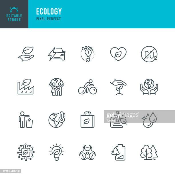 ecology - thin line vector icon set. pixel perfect. editable stroke. the set contains icons: ecology, climate change, environmental conservation, alternative energy, green technology. - environmental issues stock illustrations