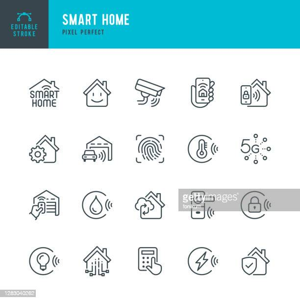 smart home - thin line vector icon set. pixel perfect. editable stroke. the set contains icons: smart home, ecosystem, remote control, wireless technology, security system, internet of things. - smart stock illustrations