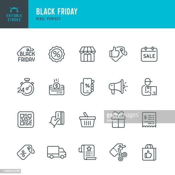 illustrazioni stock, clip art, cartoni animati e icone di tendenza di black friday - set di icone vettoriali a linea sottile. pixel perfetto. tratto modificabile. il set contiene icone: black friday, shopping, best price, discounts, best seller, gift, delivery. - commercio elettronico
