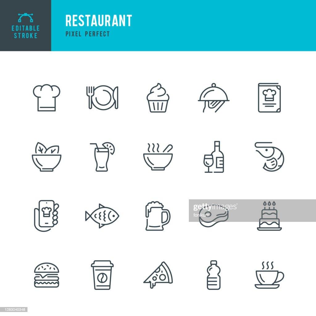 RESTAURANTE - conjunto de ícones vetoriais de linha fina. Pixel perfeito. Golpe editável. O conjunto contém ícones: Restaurante, Pizza, Hambúrguer, Carne, Peixe, Frutos do Mar, Comida Vegetariana, Salada, Café, Sobremesa, Sopa, Cerveja, Álcool. : Ilustração