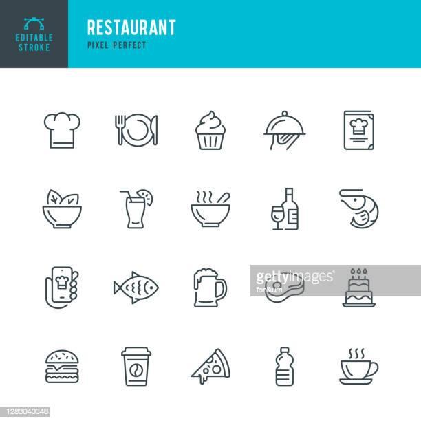 restaurant - 細線ベクトルアイコンセット。ピクセルパーフェクト。編集可能なストローク。セットには、アイコンが含まれています:レストラン、ピザ、ハンバーガー、肉、魚、シーフード、� - 料理人点のイラスト素材/クリップアート素材/マンガ素材/アイコン素材