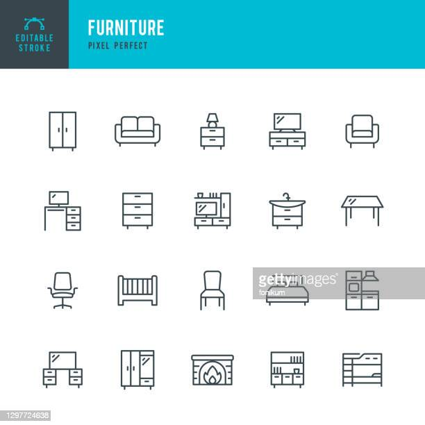 furniture - thin line vector icon set. pixel perfect. editable stroke. the set contains icons: living room, bed, desk, chair, kitchen, dining table, sofa, office chair, bookshelf, armchair. - furniture stock illustrations