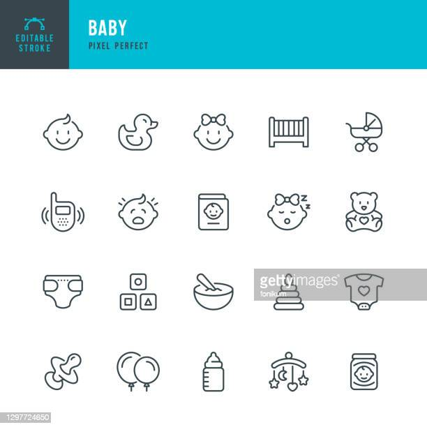 baby - thin line vector icon set. pixel perfect. editable stroke. the set contains icons: child, baby boys, baby girls, baby carriage, baby food, baby bottle, rubber duck, baby clothing, crib, diaper. - child care stock illustrations