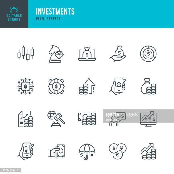investitionen - dünnlinien-vektor-symbol gesetzt. pixel perfekt. bearbeitbarer strich. das set enthält symbole: geschäftsstrategie, investment, aktienmarkt, gewinnwachstum, kredit, vermögen, finanzberater, kryptowährung, währungsumtausch. - finanzwirtschaft und industrie stock-grafiken, -clipart, -cartoons und -symbole