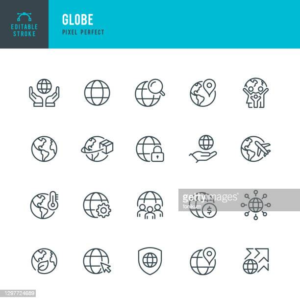 グローブ - 細線ベクトルアイコンセット。ピクセルパーフェクト。編集可能なストローク。セットには、アイコンが含まれています:惑星地球、地球儀、グローバルビジネス、気候変動、配達 - グローバルコミュニケーション点のイラスト素材/クリップアート素材/マンガ素材/アイコン素材