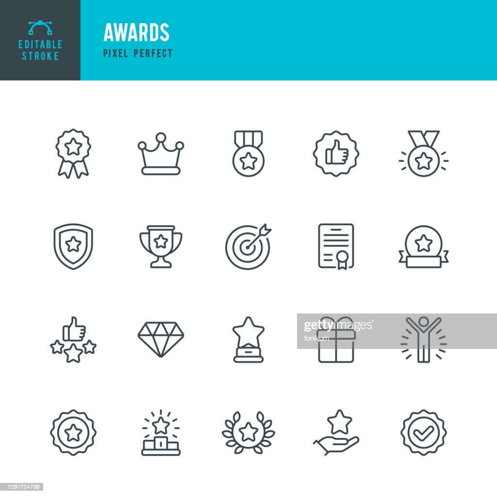 AWARDS - thin line vector icon set. Pixel perfect. Editable stroke. The set contains icons: Award, First Place, Winners Podium, Leadership, Certificate, Laurel Wreath, Medal, Trophy, Gift. : Stock Illustration
