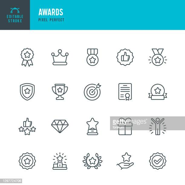 ilustrações de stock, clip art, desenhos animados e ícones de awards - thin line vector icon set. pixel perfect. editable stroke. the set contains icons: award, first place, winners podium, leadership, certificate, laurel wreath, medal, trophy, gift. - award