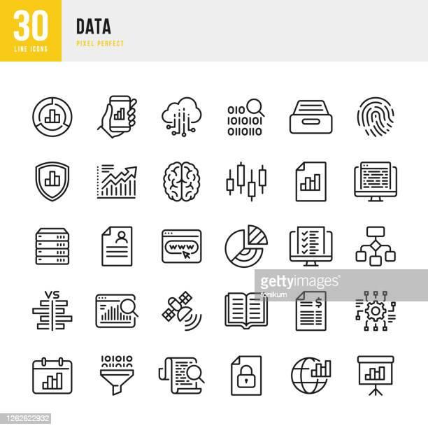 data - dünnlinien-vektor-symbol gesetzt. pixel perfekt. das set enthält symbole: big data, biometric data, analyse, diagramm, persönliche daten, cloud computing, archiv, stock market data. - zwischenbericht stock-grafiken, -clipart, -cartoons und -symbole