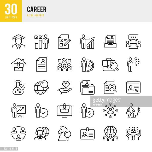 illustrations, cliparts, dessins animés et icônes de carrière - jeu d'icônes vectorielles de ligne mince. pixel parfait. l'ensemble contient des icônes: carrière, croissance personnelle, compétences, travail d'équipe, questionnaire, entretien d'embauche. - candidat