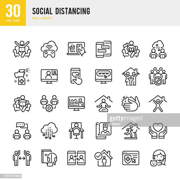 illustrations, cliparts, dessins animés et icônes de social distancing - ensemble d'icônes vectorielles à ligne mince. pixel parfait. l'ensemble contient des icônes : distanciation sociale, travail à distance, quarantaine, vidéoconférence, travail à la maison, e-learning, sports training, télém� - distanciation sociale