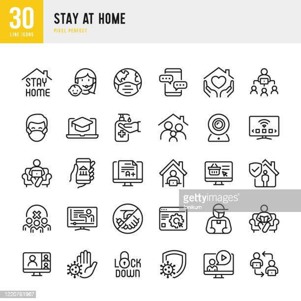 ilustraciones, imágenes clip art, dibujos animados e iconos de stock de stay at home - conjunto de iconos vectoriales de línea delgada. píxel perfecto. el conjunto contiene iconos: stay at home, social distancing, quarantine, video conference, working at home, e-learning. - cuarentena
