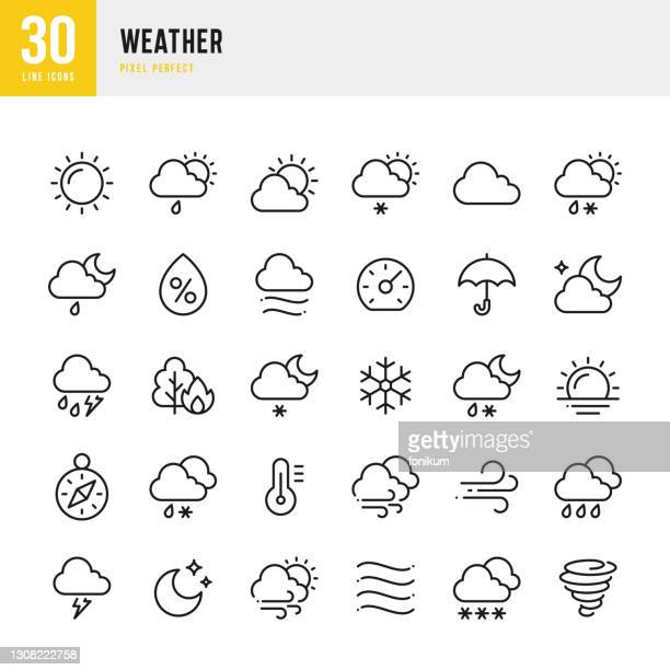天気 - 細線ベクトルアイコンセット。ピクセルパーフェクト。セットには、夏、冬、太陽、月、風、霧、雪、雨、ハリケーンなどのアイコンが含まれています。 - 空気感点のイラスト素材/クリップアート素材/マンガ素材/アイコン素材