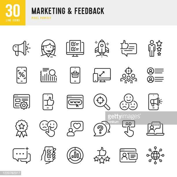marketing & feedback - dünnlinien-vektor-symbol-set. pixel perfekt. das set enthält symbole: fragebogen, feedback, support, thumb up, testimonial, bewertung, zufriedenheit. - werbung stock-grafiken, -clipart, -cartoons und -symbole