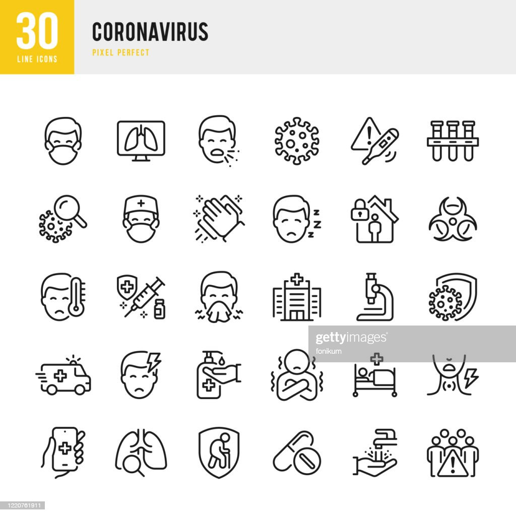 CORONAVIRUS - thin line vector icon set. Pixel perfect. The set contains icons: Coronavirus, Sneezing, Coughing, Doctor, Fever, Quarantine, Cold And Flu, Face Mask, Vaccination. : stock illustration
