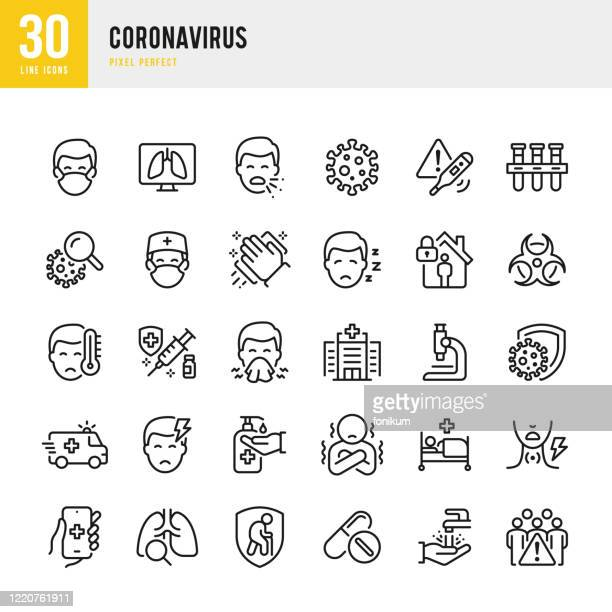 coronavirus - thin line vector icon set. pixel perfect. the set contains icons: coronavirus, sneezing, coughing, doctor, fever, quarantine, cold and flu, face mask, vaccination. - pandemic illness stock illustrations